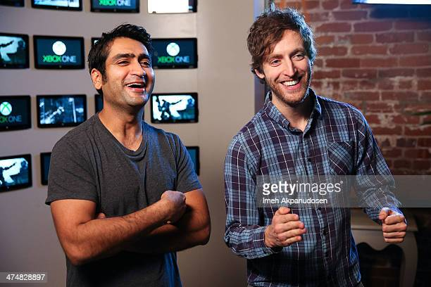 Thomas Middleditch and Kumail Nanjiani of HBO's Silicon Valley share a laugh at the Microsoft Lounge while previewing Titanfall on Xbox One on...