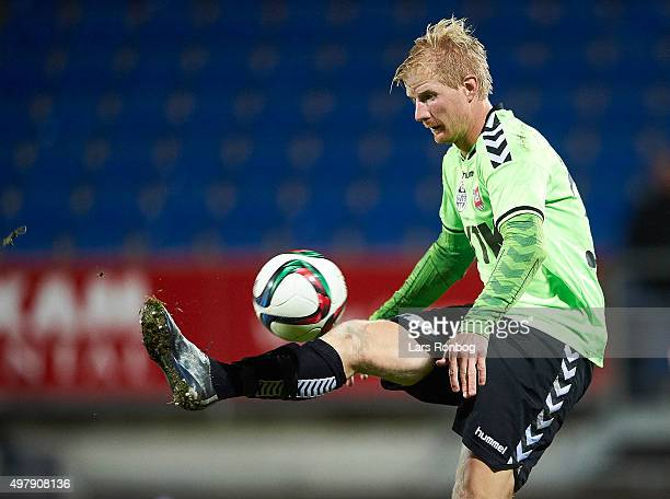 Thomas Mikkelsen of Vejle Boldklub controls the ball during the Danish 1th Division Bet25 Liga match between Lyngby Boldklub and Vejle Boldklub at...