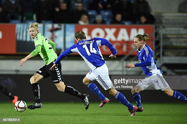Thomas Mikkelsen of Vejle Boldklub in action during the Danish 1th Division Bet25 Liga match between Lyngby Boldklub and Vejle Boldklub at Lyngby...