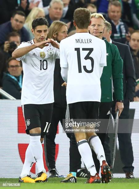 Thomas Mller gets substituted by Lars Stindl of Germany during the FIFA 2018 World Cup Qualifier between Northern Ireland and Germany at Windsor Park...