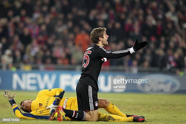 Thomas Müller Mueller FC Bayern München gegen Yan Sommer FC Basel Fussball Championsleague FC Basel FC Bayern München 10 Saison 2011 / 2012