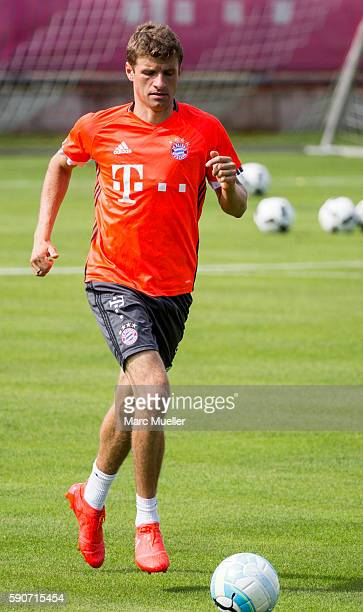 Thomas Mller of FC Bayern Munich is seen during an training session on August 17 2016 in Munich Germany