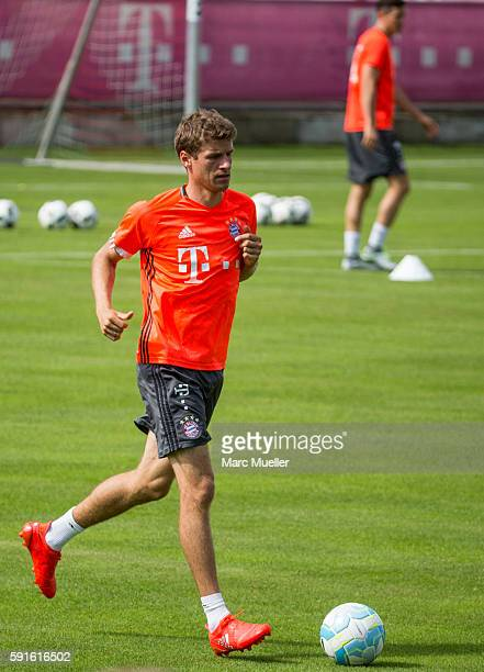 Thomas Müller of FC Bayern Munich is seen during an training session on August 17 2016 in Munich Germany