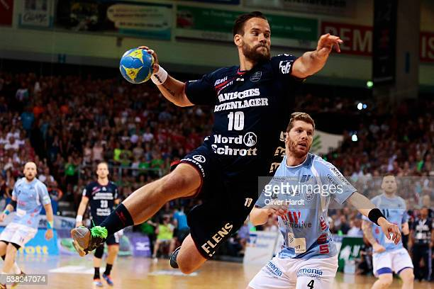 Thomas Mogensen of Flensburg in action during the bundesliga match between SG Flensburg and Bergischer HC at FlensArena on June 5 2016 in Flensburg...