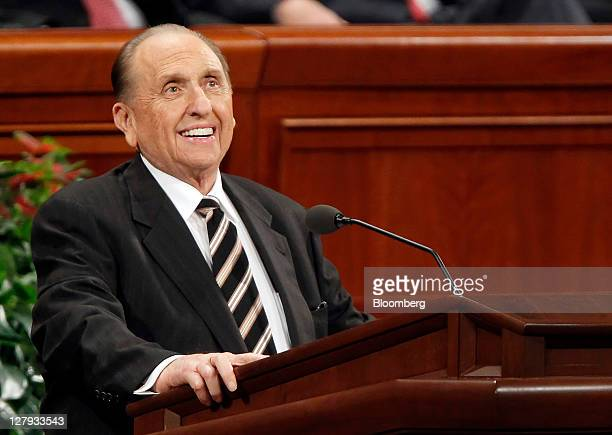 Thomas Monson president of the Church of Jesus Christ of Latterday Saints speaks at the 181st Semiannual General Conference of the Church of Jesus...