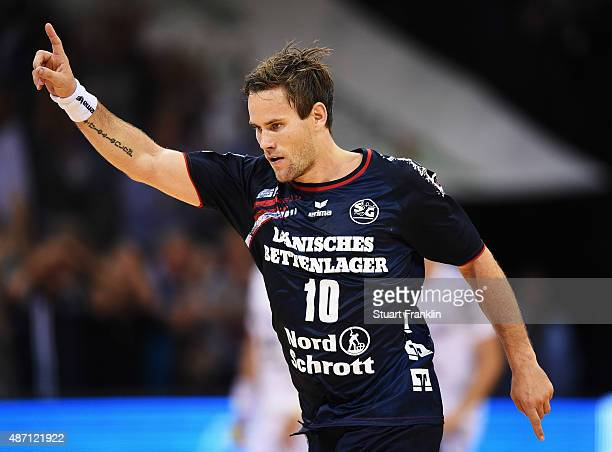 Thomas Morgensen of Flensburg celebrates scoring during the DKB Handball Bundeslga match between SG FlensburgHandewitt and THW Kiel at FlensArena on...