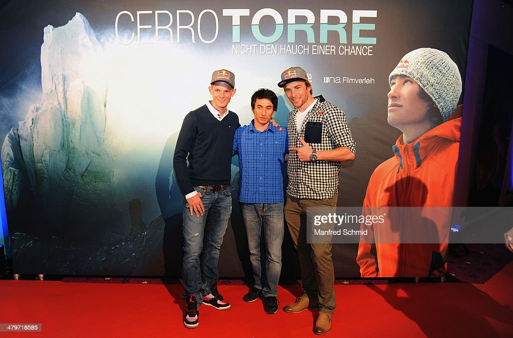 <a gi-track='captionPersonalityLinkClicked' href=/galleries/search?phrase=Thomas+Morgenstern&family=editorial&specificpeople=221616 ng-click='$event.stopPropagation()'>Thomas Morgenstern</a>, David Lama and <a gi-track='captionPersonalityLinkClicked' href=/galleries/search?phrase=Benjamin+Karl&family=editorial&specificpeople=4586461 ng-click='$event.stopPropagation()'>Benjamin Karl</a> pose for a photograph at the premiere of the film 'Cerro Torre - Nicht den Auch einer Chance' at Kino Village at City Hall on March 19, 2014 in Vienna, Austria.