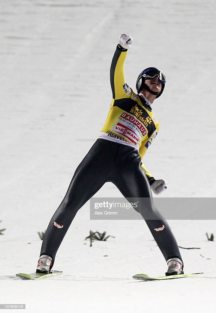 <a gi-track='captionPersonalityLinkClicked' href=/galleries/search?phrase=Thomas+Morgenstern&family=editorial&specificpeople=221616 ng-click='$event.stopPropagation()'>Thomas Morgenstern</a> of Austria celebrates after the final round of the FIS Ski Jumping World Cup event at the 59th Four Hills ski jumping tournament at Erdinger Arena on December 29, 2010 in Oberstdorf, Germany.