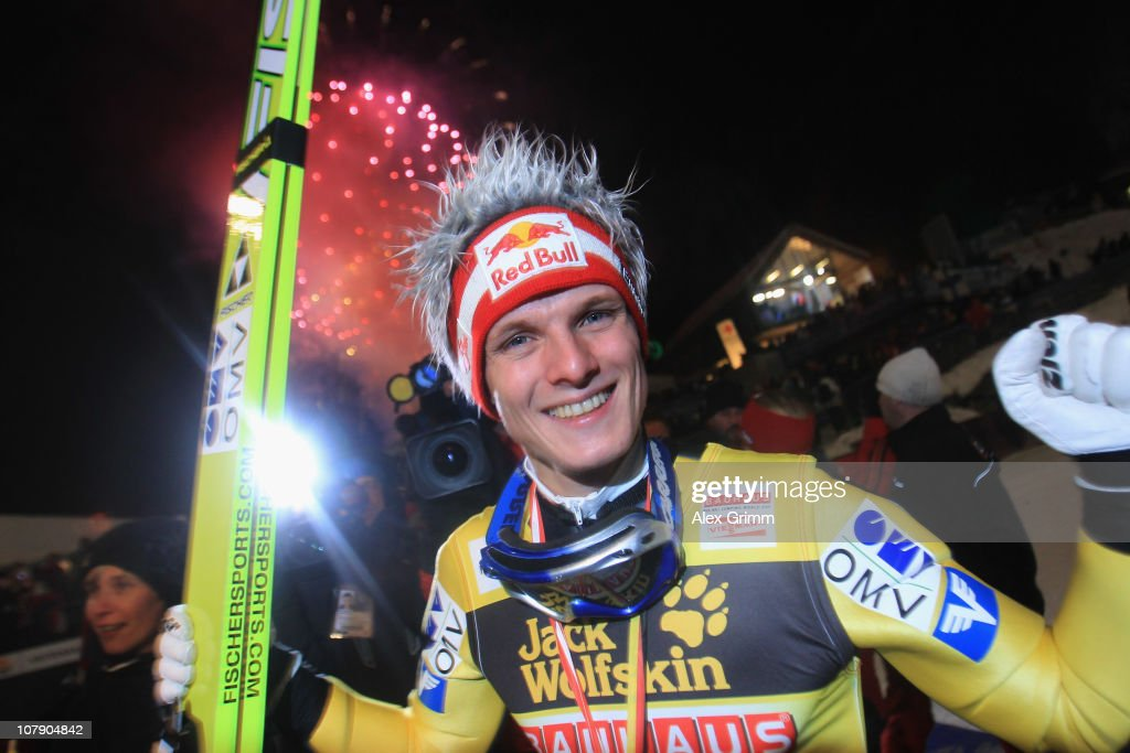 <a gi-track='captionPersonalityLinkClicked' href=/galleries/search?phrase=Thomas+Morgenstern&family=editorial&specificpeople=221616 ng-click='$event.stopPropagation()'>Thomas Morgenstern</a> of Austria celebrates winning the 59th Four Hills ski jumping tournament after the final round of the FIS Ski Jumping World Cup event of the 59th Four Hills ski jumping tournament on January 6, 2011 in Bischofshofen, Austria.