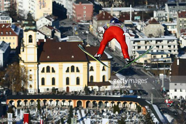 Thomas Morgenstern of Austria competes during the trial round for the FIS Ski Jumping World Cup event of the 59th Four Hills ski jumping tournament...