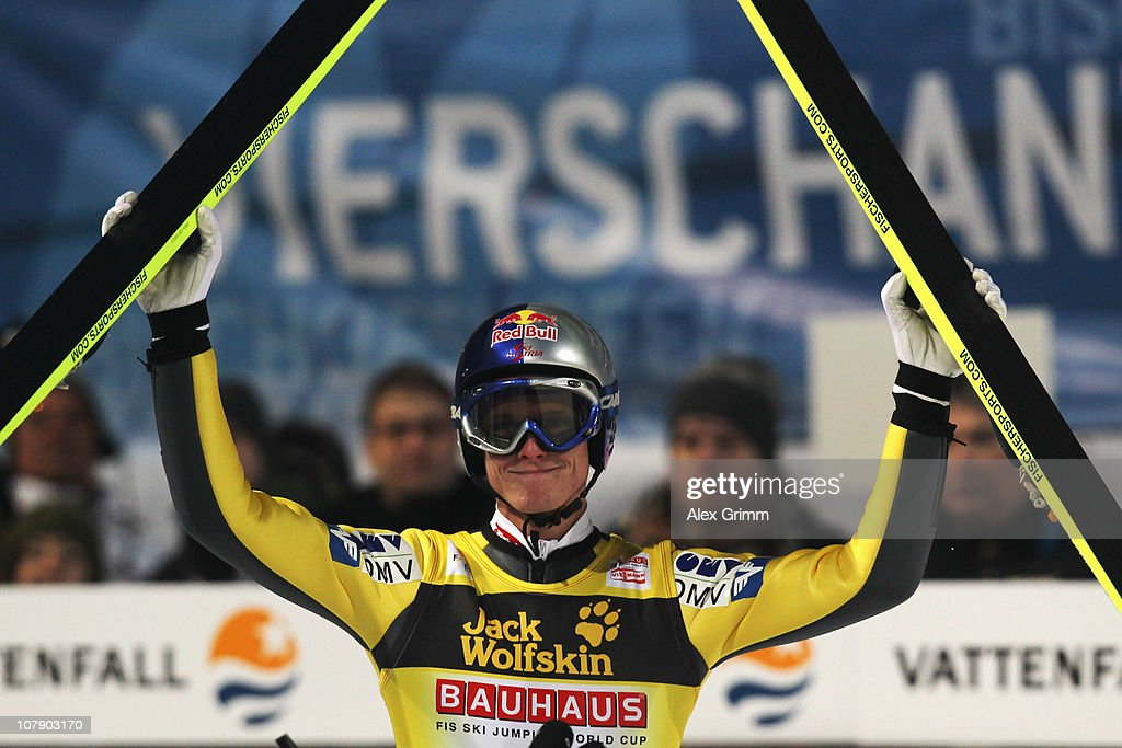 <a gi-track='captionPersonalityLinkClicked' href=/galleries/search?phrase=Thomas+Morgenstern&family=editorial&specificpeople=221616 ng-click='$event.stopPropagation()'>Thomas Morgenstern</a> of Austria reacts after his first jump at the FIS Ski Jumping World Cup event of the 59th Four Hills ski jumping tournament at Paul-Ausserleitner-Schanze on January 6, 2011 in Bischofshofen, Austria.