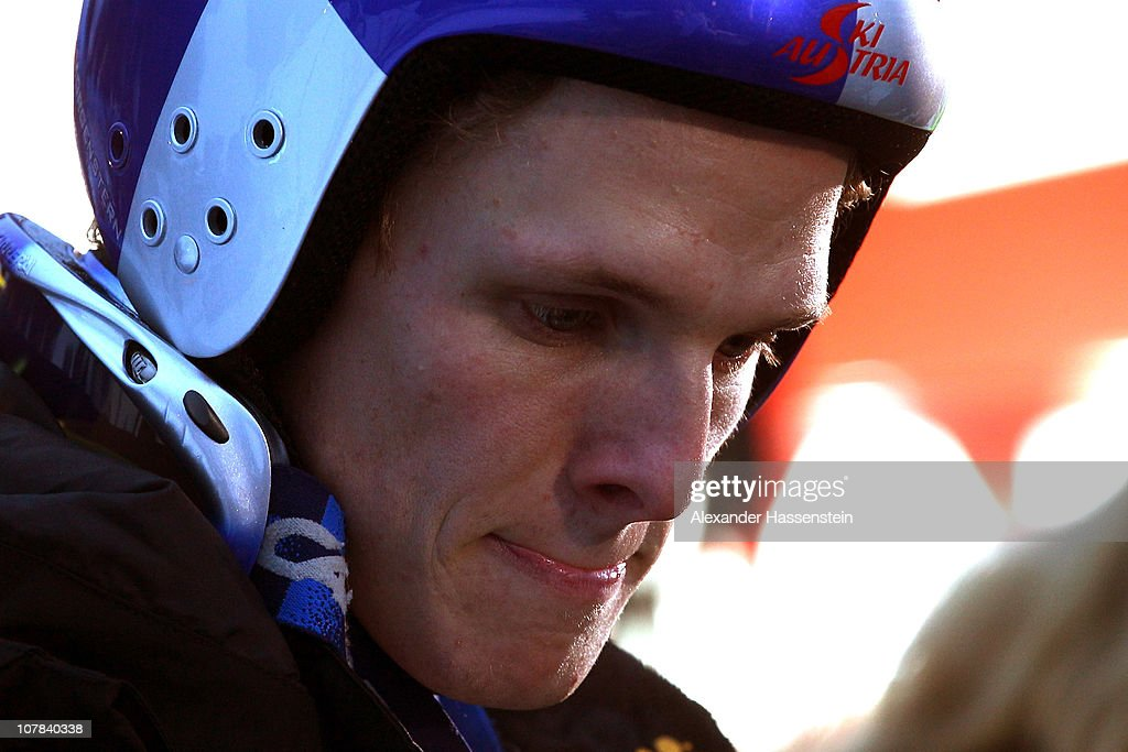 <a gi-track='captionPersonalityLinkClicked' href=/galleries/search?phrase=Thomas+Morgenstern&family=editorial&specificpeople=221616 ng-click='$event.stopPropagation()'>Thomas Morgenstern</a> of Austria reacts after the training round for the FIS Ski Jumping World Cup event at the 59th Four Hills ski jumping tournament at Olympiaschanze on January 1, 2011 in Garmisch-Partenkirchen, Germany.