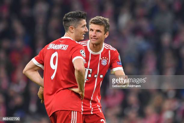 Thomas Mueller and Robert Lewandowski of FC Bayern Muenchen talk during the UEFA Champions League group B match between Bayern Muenchen and Celtic FC...