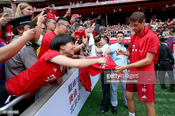 Thomas Mueller arrives for a FC Bayern Muenchen training session at National Stadium at day 1 of the FC Bayern Audi China Summer PreSeason Tour on...
