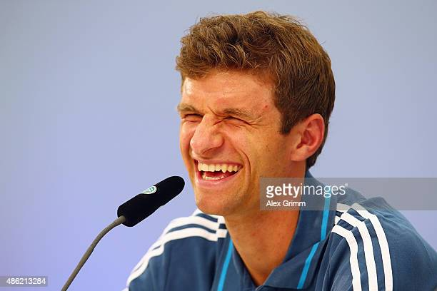 Thomas Mueller attends a Germany press conference at CommerzbankArena on September 2 2015 in Frankfurt am Main Germany