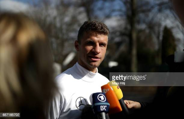 Thomas Mueller is seen prior to a Germany training session on March 24 2017 in Kamen Germany