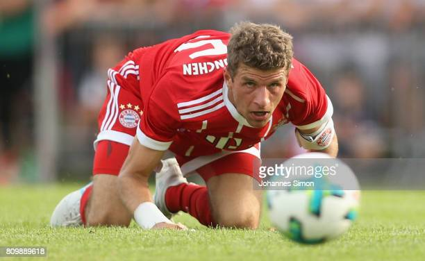 Thomas Mueller of Bayern in action during the preseason friendly match between BCF Wolfratshausen and Bayern Muenchen at on July 6 2017 in...
