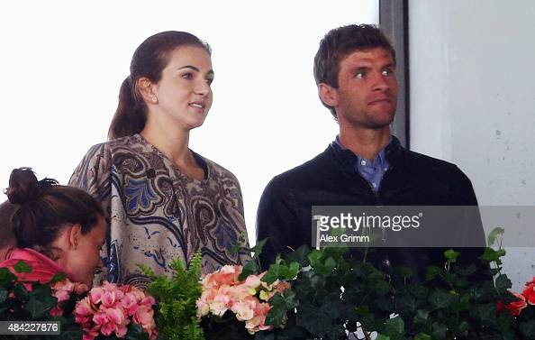 Thomas Mueller of Bayern Muenchen and his wife Lisa watch the Dressage Grand Prix Freestyle individual competition on Day 5 of the FEI European...