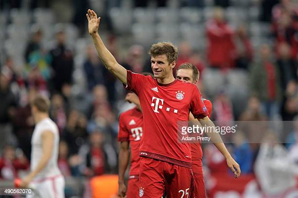 Thomas Mueller of Bayern Muenchen celebrates after the UEFA Champions League Group F match between FC Bayern Munchen and GNK Dinamo Zagreb at the...