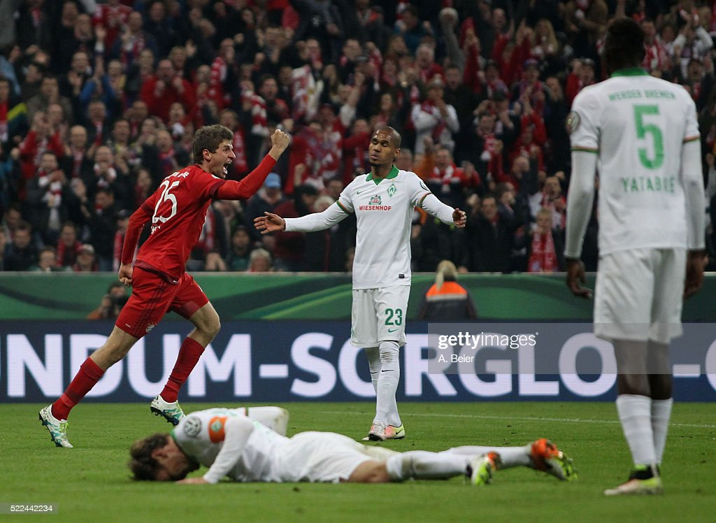 <a gi-track='captionPersonalityLinkClicked' href=/galleries/search?phrase=Thomas+Mueller&family=editorial&specificpeople=5842906 ng-click='$event.stopPropagation()'>Thomas Mueller</a> (L) of Bayern Muenchen celebrates his first goal as Werder Bremen's <a gi-track='captionPersonalityLinkClicked' href=/galleries/search?phrase=Clemens+Fritz&family=editorial&specificpeople=645695 ng-click='$event.stopPropagation()'>Clemens Fritz</a> (bottom), <a gi-track='captionPersonalityLinkClicked' href=/galleries/search?phrase=Sambou+Yatabare&family=editorial&specificpeople=5747366 ng-click='$event.stopPropagation()'>Sambou Yatabare</a> (R) and Gebre Selassie react during the DFB Cup semi final match between FC Bayern Muenchen and Werder Bremen on April 19, 2016 in Munich, Germany.