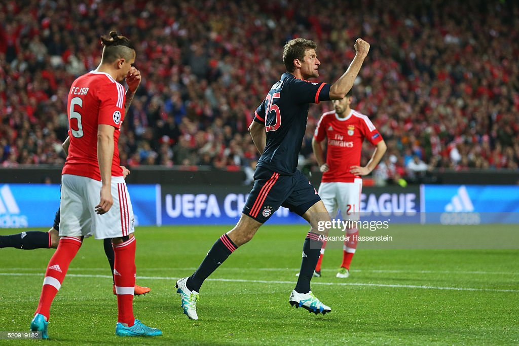 Thomas Mueller of Bayern Muenchen celebrates scoring his team's second goal during the UEFA Champions League quarter final second leg match between...