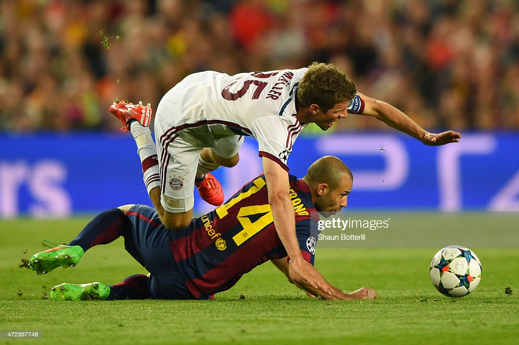 <a gi-track='captionPersonalityLinkClicked' href=/galleries/search?phrase=Thomas+Mueller&family=editorial&specificpeople=5842906 ng-click='$event.stopPropagation()'>Thomas Mueller</a> of Bayern Muenchen is tackled by <a gi-track='captionPersonalityLinkClicked' href=/galleries/search?phrase=Javier+Mascherano&family=editorial&specificpeople=490876 ng-click='$event.stopPropagation()'>Javier Mascherano</a> of Barcelona during the UEFA Champions League Semi Final, first leg match between FC Barcelona and FC Bayern Muenchen at Camp Nou on May 6, 2015 in Barcelona, Spain.