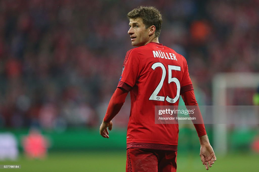<a gi-track='captionPersonalityLinkClicked' href=/galleries/search?phrase=Thomas+Mueller&family=editorial&specificpeople=5842906 ng-click='$event.stopPropagation()'>Thomas Mueller</a> of Bayern Muenchen looks on during the UEFA Champions League semi final second leg match between FC Bayern Muenchen and Club Atletico de Madrid at Allianz Arena on May 3, 2016 in Munich, Germany.