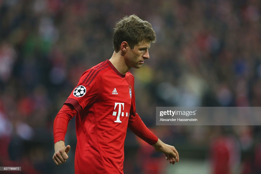 <a gi-track='captionPersonalityLinkClicked' href=/galleries/search?phrase=Thomas+Mueller&family=editorial&specificpeople=5842906 ng-click='$event.stopPropagation()'>Thomas Mueller</a> of Bayern Muenchen reacts during the UEFA Champions League semi final second leg match between FC Bayern Muenchen and Club Atletico de Madrid at Allianz Arena on May 3, 2016 in Munich, Germany.