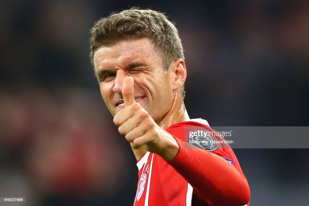 Thomas Mueller of Bayern Muenchen reacts during the UEFA Champions League group B match between FC Bayern Muenchen and RSC Anderlecht at Allianz Arena on September 12, 2017 in Munich, Germany.