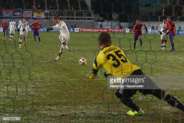 Thomas Mueller of Bayern Muenchen scores the third team goal with a penalty kick during UEFA Champions League Group D match between PFC CSKA Moskva...