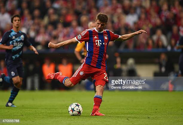 Thomas Mueller of Bayern Muenchen scores their fourth goal during the UEFA Champions League Quarter Final Second Leg match between FC Bayern Muenchen...