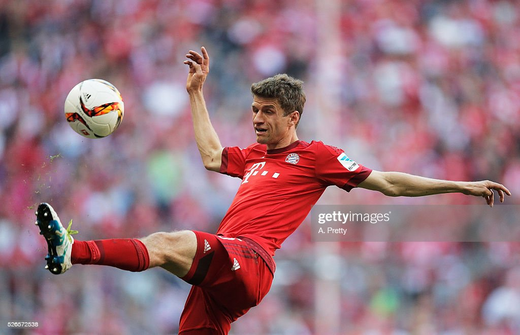 Thomas Mueller of Bayern Munich in action during the Bundesliga match between FC Bayern Muenchen and Borussia Moenchengladbach on April 30, 2016 in Munich, Bavaria.