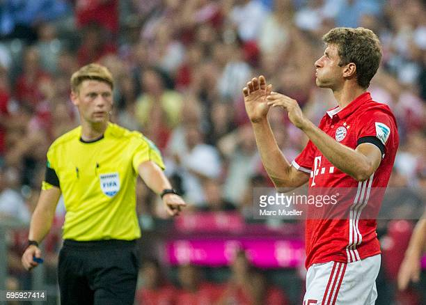 Thomas Mueller of Bayern Munich is seen during the Bundesliga match between Bayern Muenchen and Werder Bremen at Allianz Arena on August 26 2016 in...