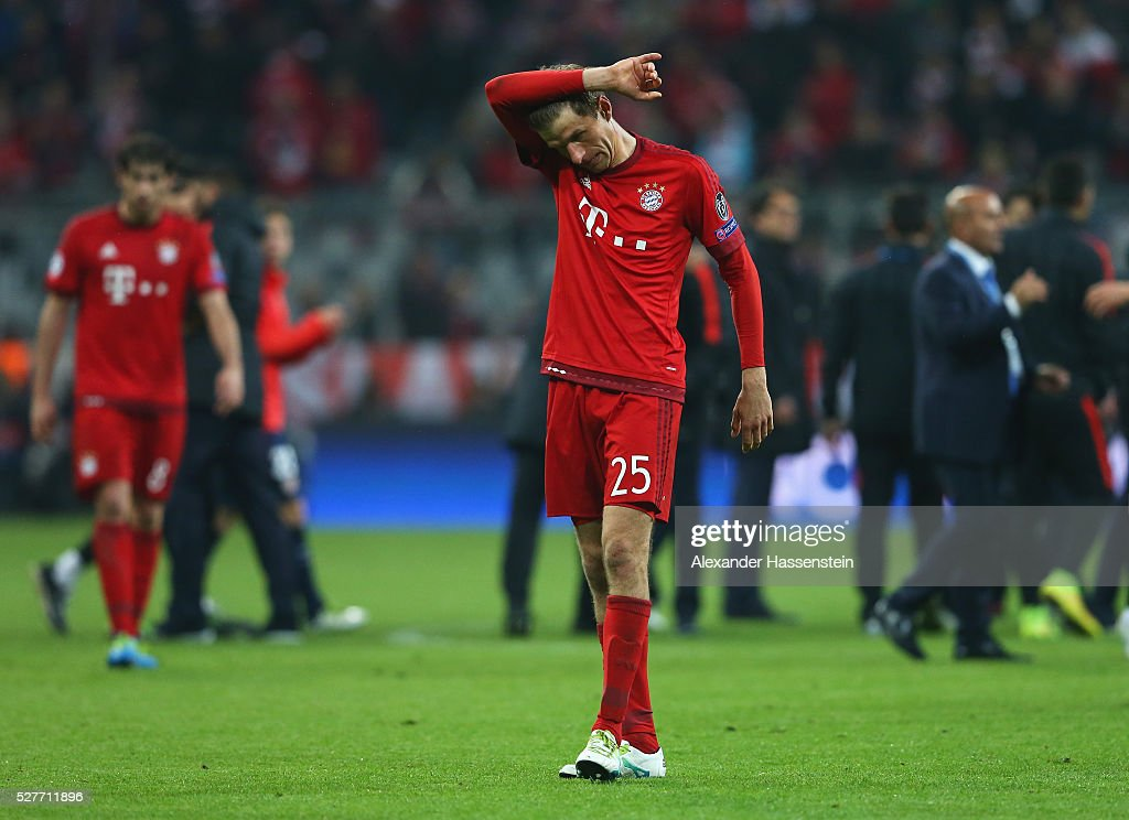 Thomas Mueller of Bayern Munich looks dejected after the UEFA Champions League semi final second leg match between FC Bayern Muenchen and Club Atletico de Madrid at Allianz Arena on May 3, 2016 in Munich, Germany. Bayern Munich won the match 2-1, but Atletico Madrid reached the final on the away goals rule.