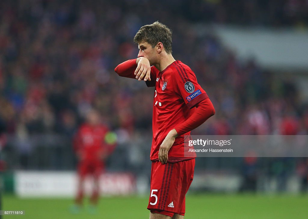 Thomas Mueller of Bayern Munich looks on during UEFA Champions League semi final second leg match between FC Bayern Muenchen and Club Atletico de Madrid at Allianz Arena on May 3, 2016 in Munich, Germany.