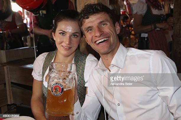 Thomas Mueller of FC Bayern Muenchen and his wife Lisa attend the Oktoberfest beer festival 2015 at Theresienwiese on September 30 2015 in Munich...