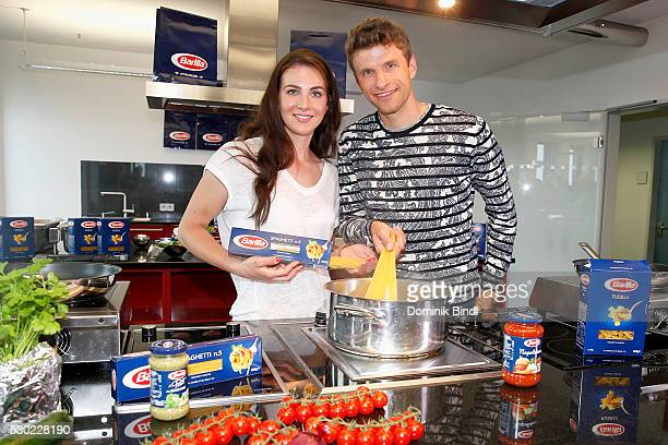 Thomas Mueller of FC Bayern Muenchen and his wife Lisa Mueller during the presentation of the Barilla campaign 'Bravo fuer Dich' on May 10 2016 in...