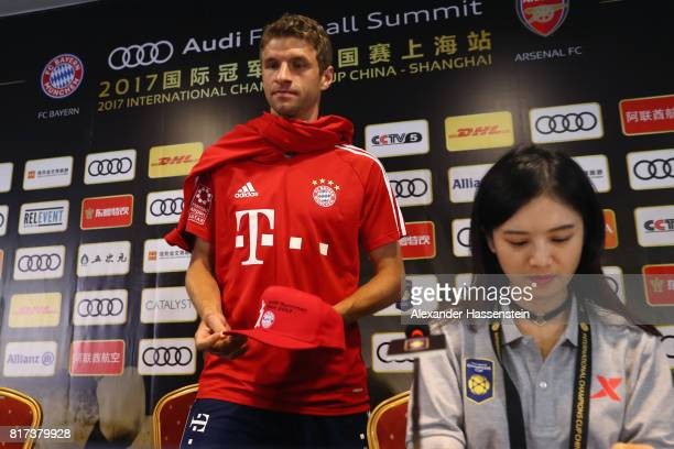 Thomas Mueller of FC Bayern Muenchen attends a press conference at Shanghai Stadium of the Audi Summer Tour 2017 on July 18 2017 in Shanghai China