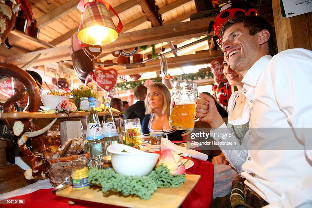 Thomas Mueller of FC Bayern Muenchen attends the Oktoberfest 2015 Beerfestival at Kaefer Wiesenschaenke at Theresienwiese on September 30, 2015 in Munich, Germany.