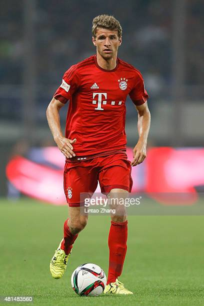 Thomas Mueller of FC Bayern Muenchen in action during the international friendly match between FC Bayern Muenchen and Inter Milan of the Audi...