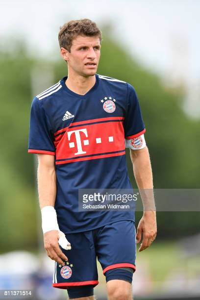 Thomas Mueller of FC Bayern Muenchen looks on during the preseason friendly match between FSV ErlangenBruck and Bayern Muenchen at Adi Dassler...
