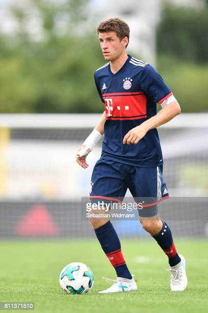 Thomas Mueller of FC Bayern Muenchen plays the ball during the preseason friendly match between FSV ErlangenBruck and Bayern Muenchen at Adi Dassler...