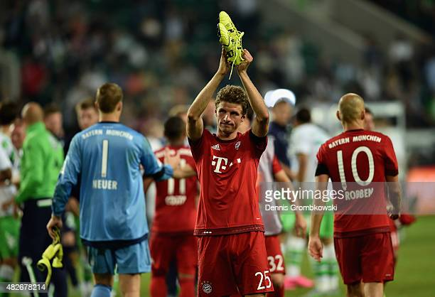 Thomas Mueller of FC Bayern Muenchen reacts after the DFL Supercup 2015 match between VfL Wolfsburg and FC Bayern Muenchen at Volkswagen Arena on...