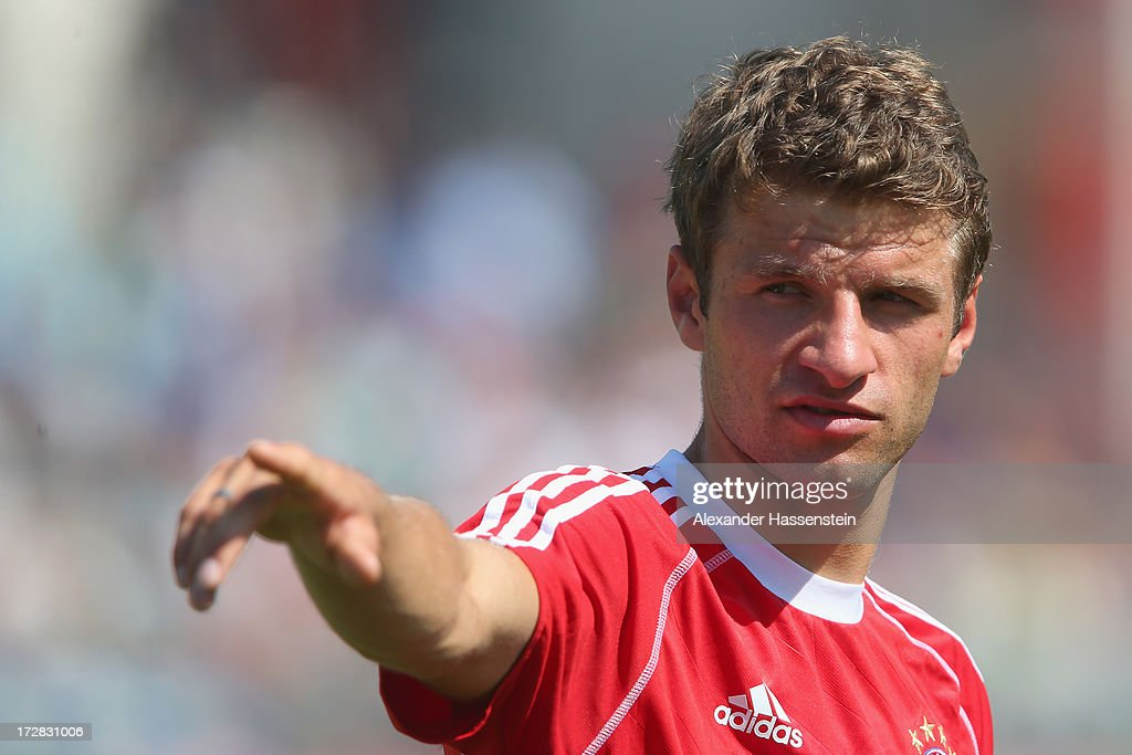 Thomas Mueller of FC Bayern Muenchen reacts during a training session at Campo Sportivo on July 5, 2013 in Arco, Italy.