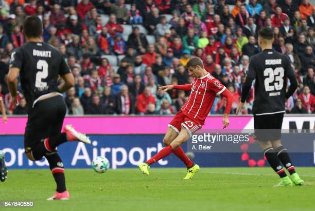 Thomas Mueller of FC Bayern Muenchen scores his first goal during the Bundesliga match between FC Bayern Muenchen and 1 FSV Mainz 05 at Allianz Arena...
