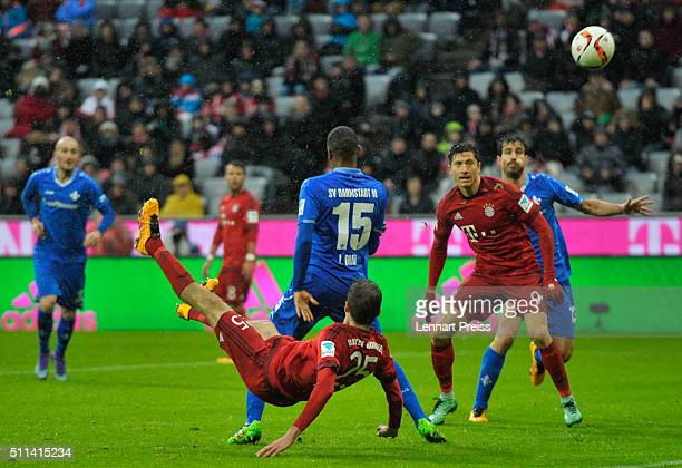 Thomas Mueller of FC Bayern Muenchen scores his team's second goal during the Bundesliga match between FC Bayern Muenchen and SV Darmstadt 98 at...