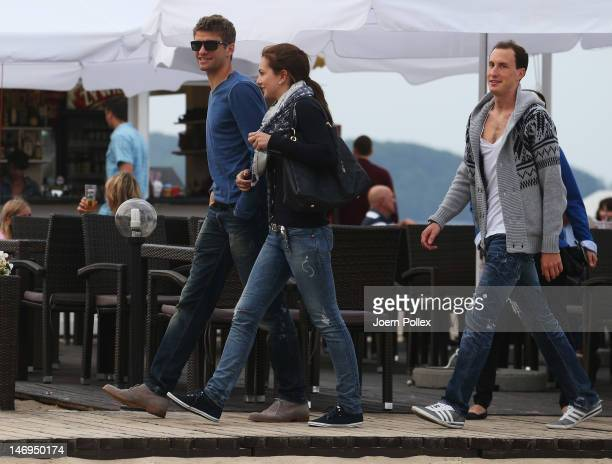 Thomas Mueller of German national team and his wife Lisa are sighted at the beach on June 24 2012 in Sopot Poland