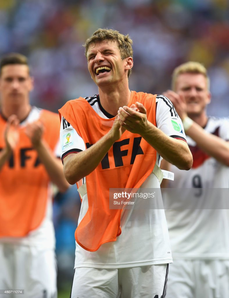 Thomas Mueller of Germany acknowledges the fans after scoring a hat trick and defeating Portugal 4-0 during the 2014 FIFA World Cup Brazil Group G match between Germany and Portugal at Arena Fonte Nova on June 16, 2014 in Salvador, Brazil.