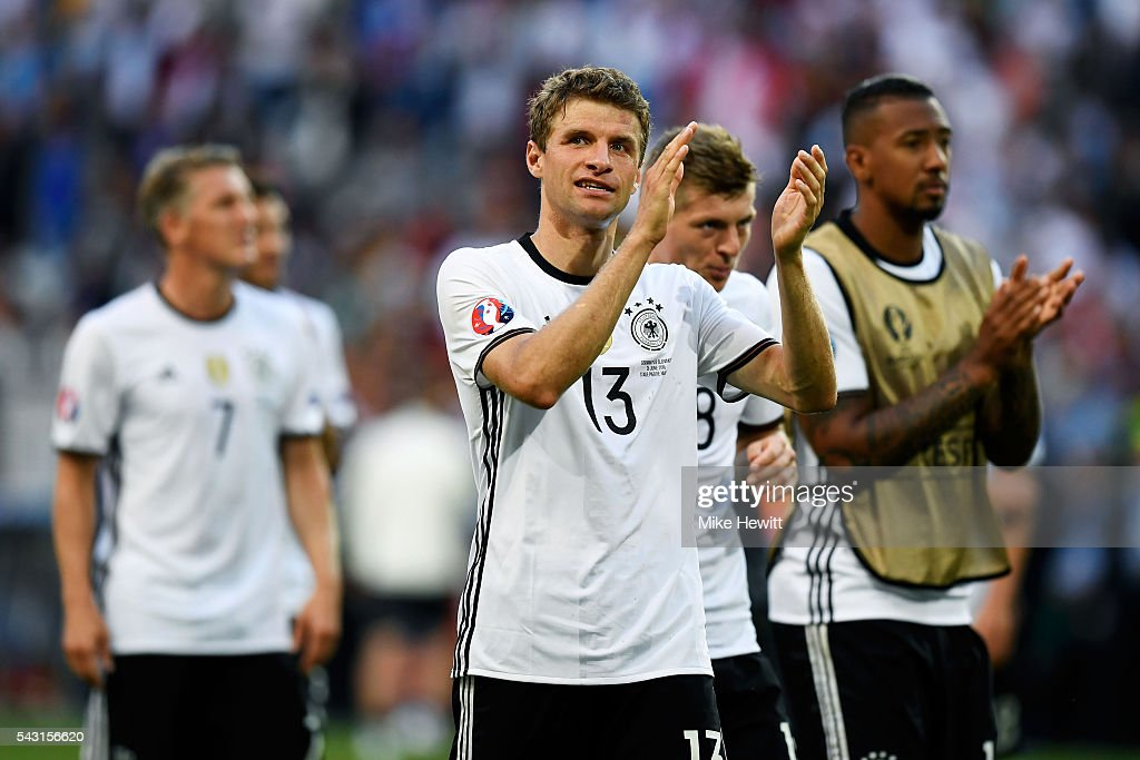 <a gi-track='captionPersonalityLinkClicked' href=/galleries/search?phrase=Thomas+Mueller&family=editorial&specificpeople=5842906 ng-click='$event.stopPropagation()'>Thomas Mueller</a> of Germany applauds his supporters after his team's 3-0 win in the UEFA EURO 2016 round of 16 match between Germany and Slovakia at Stade Pierre-Mauroy on June 26, 2016 in Lille, France.