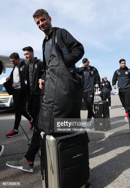 Thomas Mueller of Germany arrives with the team at Duesseldorf Airport to depart for the FIFA 2018 World Cup Qualifier between Azerbaijan and Germany...